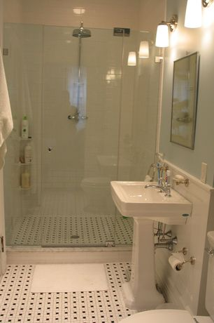 "Traditional 3/4 Bathroom with Rain shower, Giorbello Subway 6"" x 3"" Tile in Bright White, frameless showerdoor, Pedestal sink"