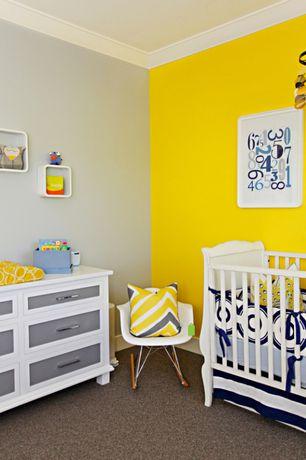 Contemporary Kids Bedroom with no bedroom feature, CHILDREN'S CHELSEA RAR ROCKING CHAIR, Crown molding, Built-in bookshelf