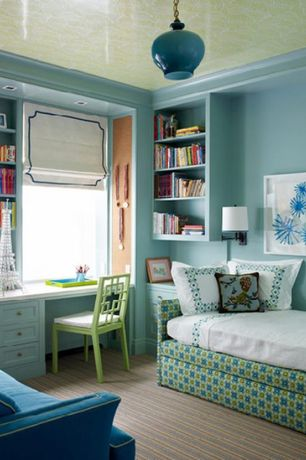 Contemporary Kids Bedroom with Interior homescapes sofia swing arm sconce, Crown molding, Built-in bookshelf, Pendant light