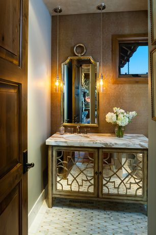 Traditional Powder Room with Hooker furniture mirrored console cabinet, Powder room, Calacatta gold marble slab, Glass panel