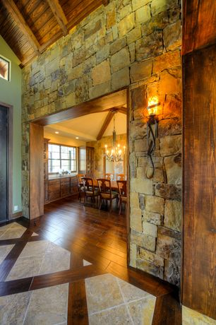Rustic Entryway with Hardwood floors, High ceiling, Uttermost joselyn glass and metal wall sconce, Wall sconce, Exposed beam