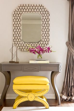 Eclectic Entryway with Safavieh Dante X-Bench Yellow Ottoman, Armstrong Flooring - Oak in Saddle