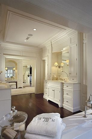 Traditional Master Bathroom with wall-mounted above mirror bathroom light, Pottery Barn Classic Apothecary Jar, Casement