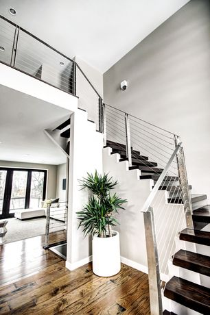 Contemporary Staircase with Hardwood floors, Wall sconce, High ceiling, Loft