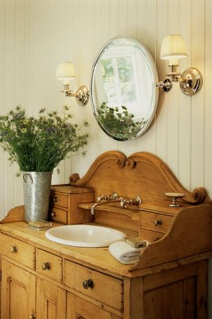 Cottage Powder Room with Raised panel, Kohler - Compass Drop-In Undermount Bathroom Sink, Powder room, Inset cabinets