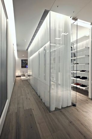 Contemporary Closet with Rustic taupe / oak / handscraped, specialty door, Hardwood floors, Standard height