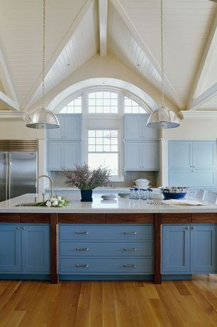 "Cottage Kitchen with Inset cabinets, Sub-zero 36"" built-in sides-by-side rrefrigerator/freezer bi-36s/s, Pendant light"