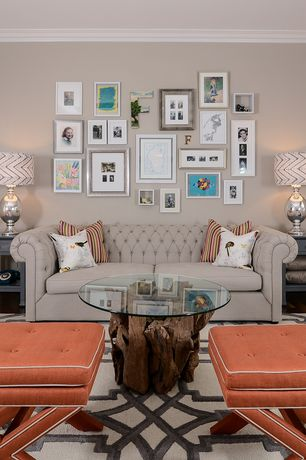 Contemporary Living Room with Safavieh Palmer X-bench Nailhead Tangerine Ottoman, Built-in bookshelf, Crown molding