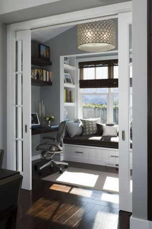 Traditional Home Office with Custom Cabinetry, specialty door, Radiance matchstick rayon roman shade, Window seat