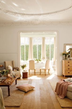 Traditional Living Room with Dalyn Rug Co. Casual Elegance Ivory Area Rug, Hardwood floors, Chair rail, Crown molding