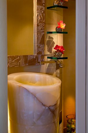 Art Deco Powder Room with Standard height, Elsinore gold texture wallpaper, Powder room