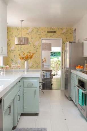 Contemporary Kitchen with Chinoiserie wallpaper, Undermount sink, Inset cabinets, European Cabinets, Pendant light, U-shaped