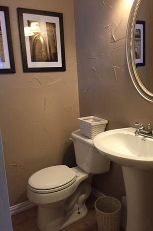 Traditional Powder Room with Pedestal sink, Powder room, Redmon Willow Small Storage Basket, Cayman White Rattan Waste Basket