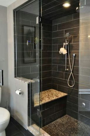Contemporary 3/4 Bathroom with Solistone Anatolia Honed Black Sea 12 in. x 12 in. Stone Pebble Mosaic Floor Tile, Rain shower