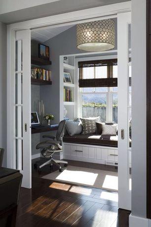 Contemporary Home Office with Window seat, Beadboard ceiling, Hardwood floors, Dark hardwood floors, Office chair