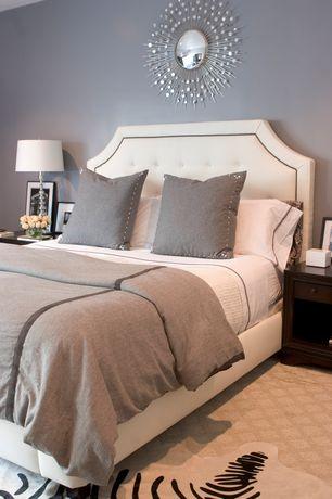 "Contemporary Master Bedroom with Fabulousfurs.com - faux zebra hide rug 58"" x 93"", Carpet"