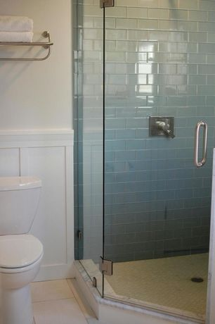 Contemporary 3/4 Bathroom with picture window, limestone tile floors, Emser Tile Natural Stone 12 x 12 Marble Tile in Thassos