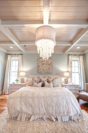 Cottage Master Bedroom with Shades of Light Dripping Crystal Shade Chandelier, Exposed grid beam, Chandelier, can lights