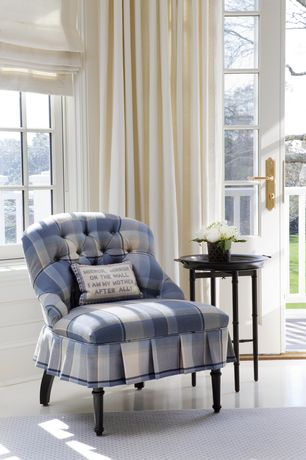 Country Living Room with Ballard Designs Custom Upholstered Rebecca Chair and Ottoman Slipcover And Frame