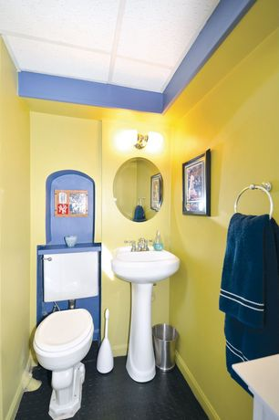 Contemporary Powder Room with penny tile floors, Pedestal sink, wall-mounted above mirror bathroom light, Box ceiling