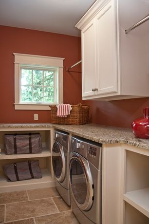 Traditional Laundry Room with Hanging Bar, Built-in bookshelf, Casement, Paint 1, travertine floors, Standard height