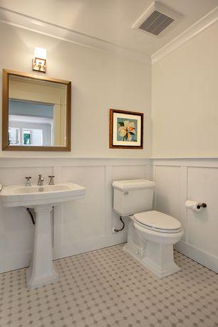 Traditional Powder Room with Pedestal sink, Toto Promenade Pedestal Bathroom Sink with Deep Bowl, penny tile floors