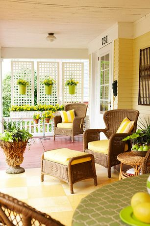 Cottage Porch with Painted deck, Screened porch, Paint 2, Glass panel door, flush light, 3-piece honey wicker bistro set