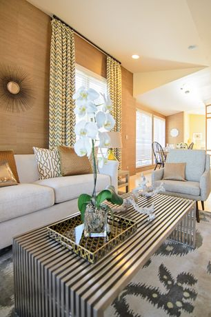 Contemporary Living Room with interior wallpaper, Laminate floors, Crate and barrel axis ii 2-seat sofa