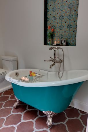 Eclectic Master Bathroom with Alcora mexican tile, Spanish mission red terracotta floor tile - arabesque picket, Clawfoot