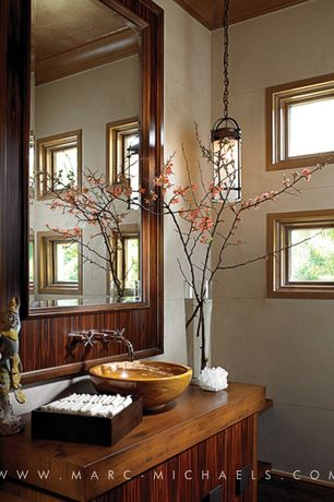 Asian Powder Room with Wall sconce, Wall mirror, European Cabinets, Vessel sink, Powder room, Concrete tile wall, Flush