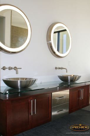 Contemporary Master Bathroom with European Cabinets, Flat panel cabinets, Double sink, High ceiling, Vessel sink, Flush