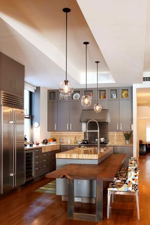 Contemporary Kitchen with High ceiling, L-shaped, Kitchen island, Undermount sink, Pental  Saturnia Polished Travertine