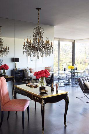 Eclectic Great Room with Concrete floors, Chandelier