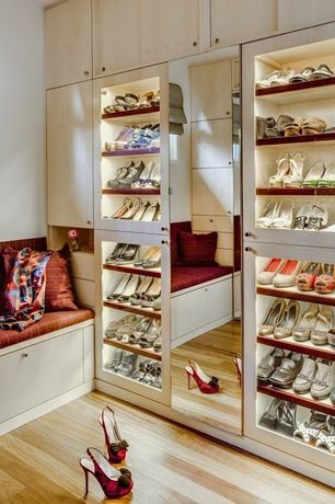 Contemporary Closet with Fine Stripe in Copper Orange Silk, Built-in bookshelf, Hardwood floors