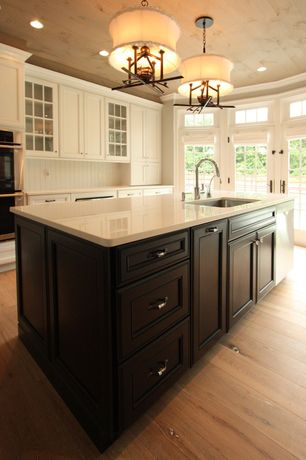 Country Kitchen with French doors, Undermount sink, Corian counters, Glass panel, Transom window, Kitchen island, One-wall