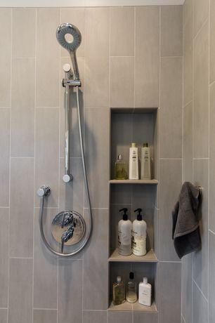 Contemporary 3/4 Bathroom with High ceiling, Trader Joe's Tea Tree Tingle Shampoo, Pental pluvium pietra 6x24""