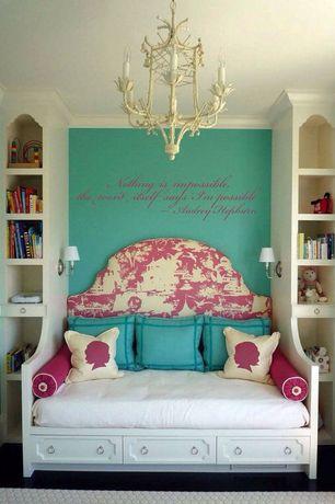 Eclectic Kids Bedroom with Crown molding, Custom built-in bed, Custom upholstered headboard, Built-in bookshelf, Bunk beds
