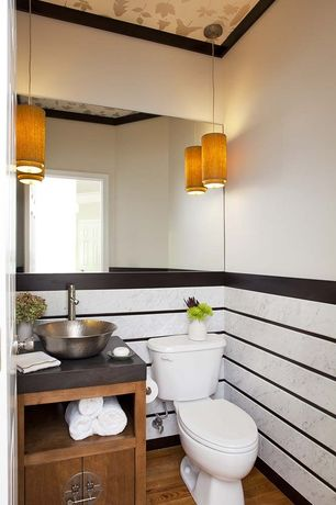 Contemporary Powder Room with Vessel sink, Powder room, Pendant light, European Cabinets, Inset cabinets, Soapstone counters