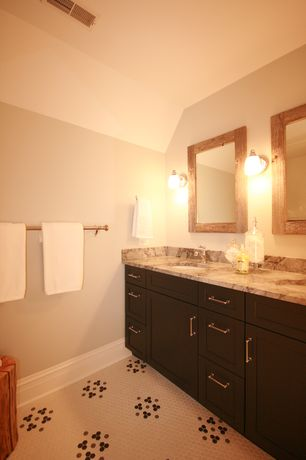 Eclectic Full Bathroom with Undermount sink, partial backsplash, Complex marble counters, Inset cabinets, Flat panel cabinets