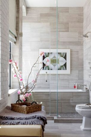 Contemporary Full Bathroom with frameless showerdoor, Dorel Living Hadfield Rectangular Storage Ottoman, Handheld showerhead
