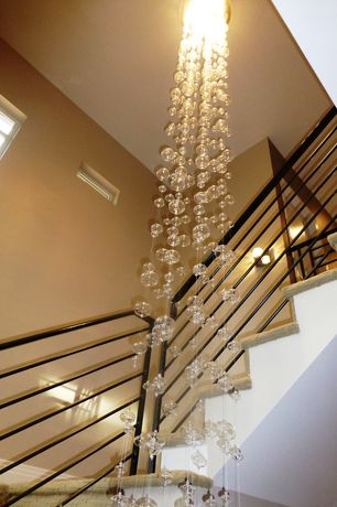 Contemporary Staircase with Paint, Bubble chandelier