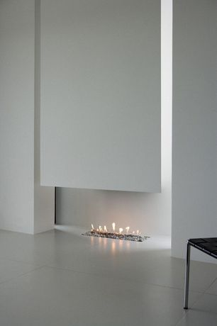 Modern Living Room with Fireplace, other fireplace, Standard height, stone tile floors