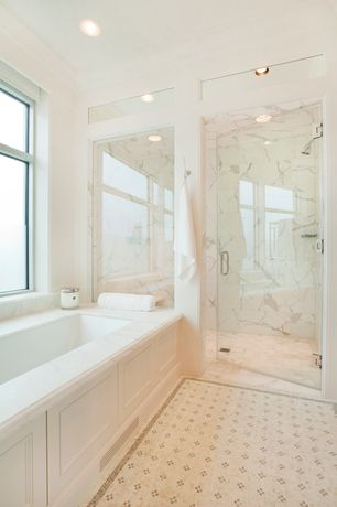 Traditional Master Bathroom with Master bathroom, can lights, Ms international - calacatta classic marble, Shower, Paint