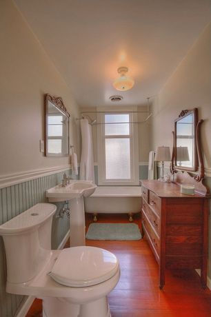 Traditional 3/4 Bathroom with Pedestal sink, Wainscotting, Flat panel cabinets, Clawfoot, Wood counters, flush light, Flush