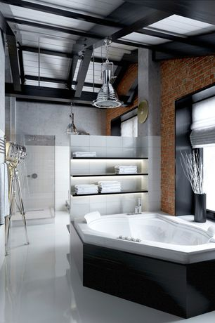 Contemporary Master Bathroom with Concrete floors, Towel warmer, frameless showerdoor, White acrylic whirlpool tub
