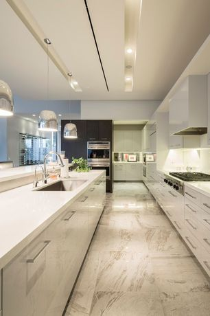 Contemporary Kitchen with 24 in x 24 in carrara marble tile, Quartz countertop, European Cabinets, complex marble tile floors