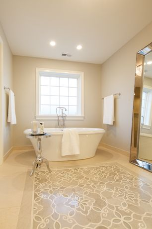Traditional Master Bathroom with Bathtub, Freestanding, picture window, Master bathroom, can lights, Standard height