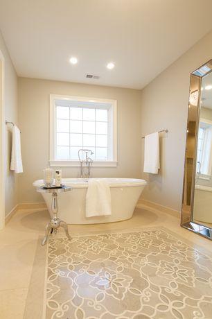 Traditional Master Bathroom with Freestanding, Ms international sunny light limestone, Master bathroom