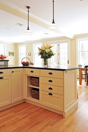 Country Kitchen with L-shaped, Breakfast nook, European Cabinets, Slate counters, Flat panel cabinets, Hardwood floors, Flush