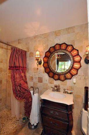 Mediterranean 3/4 Bathroom with Flat panel cabinets, Undermount sink, stone tile floors, curtain showerdoor, Wall Tiles